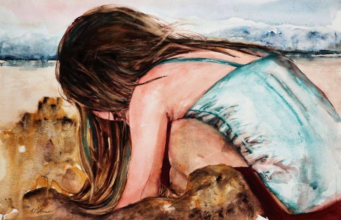 R Putbrese Watercolor painting of child at beach by Rebecca/Becky Krutsinger