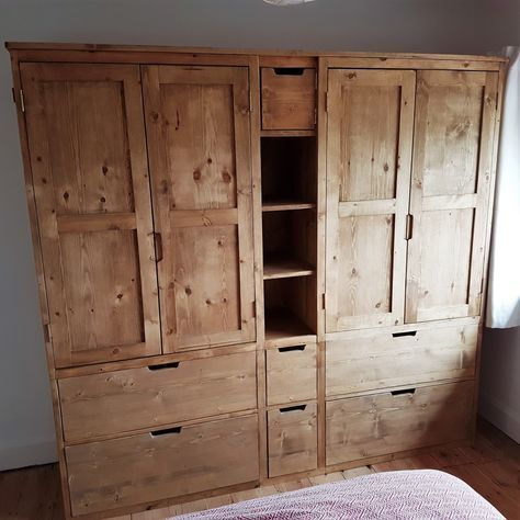 Pine solid Hand-made wooden wardrobe