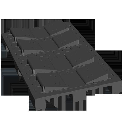 Kunststoff-Palette mit Kunststoffkeilen für Rollendruckpapier