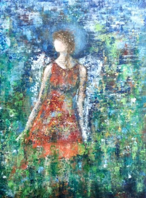 Angel painting, abstract angel painting, oil painting of angel, angel in a garden, inspirational art, oil and cold wax medium figurative painting, angels in art