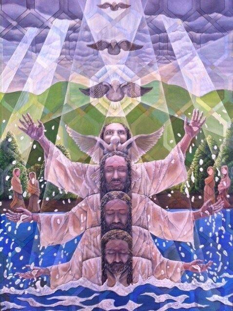 Baptism of Jesus Christ.  Cubism, Painting, Art Contemporary, Manasse