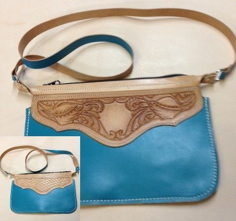Turquoise leather purse , tooled  cross body , custom tooled , monogrammed purse ,
