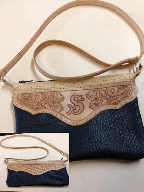 purse , crossbody purse , tooled , monogrammed , clutch purse , tooled leather