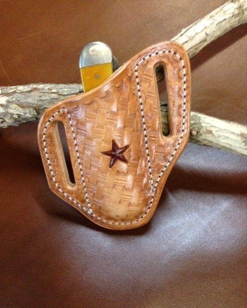 Tooled  sheath , trapper sheath , stockman sheath , trapper knife sheath , basket weave holster , knife holster ,