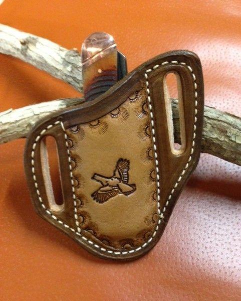 Tooled quail sheath , trapper sheath , stockman sheath , trapper knife sheath ,