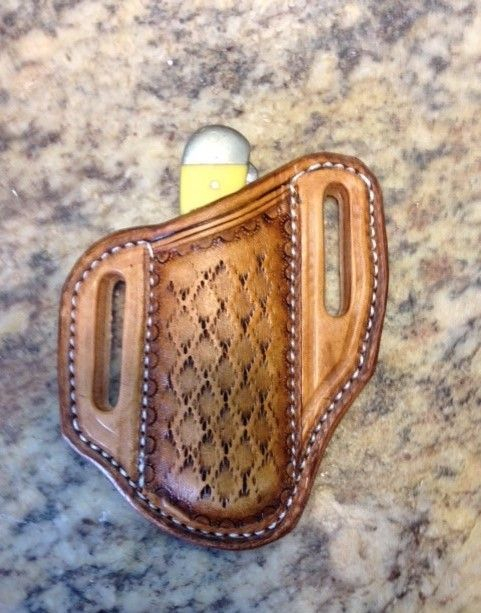 tooled leather knife sheath , copperhead tooling , leather , case trapper sheaths ,