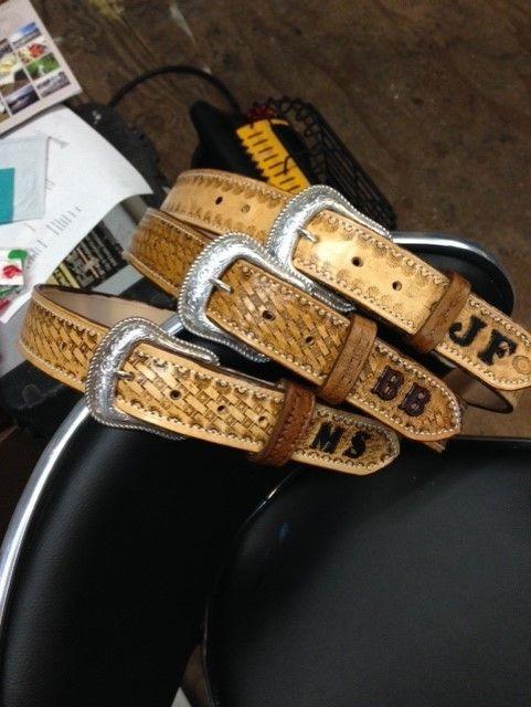 leather belts , custom belts , western belts , tooled monogrammed ,