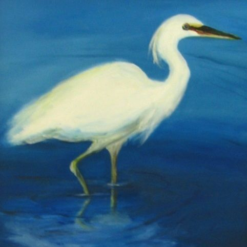 snowy egret painting