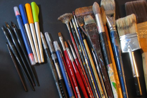 Assorted brushes for water color, guache and oil paints; explore nib pens for calligraphy and ink drawings; water brush is a dual tool for illustration and painting
