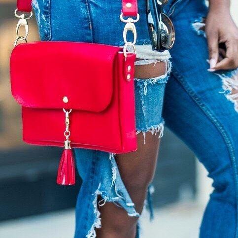 High Quality Vegan Leather Red Clutch/Crossbody Bag