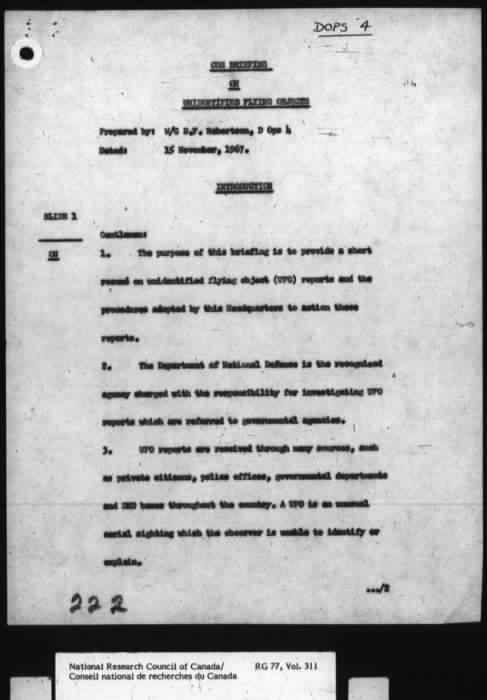 Ces documents révèlent l'intérêt du gouvernement canadien pour les ovnis