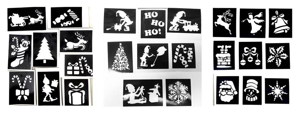 christmas glitter tattoo kits and stencils