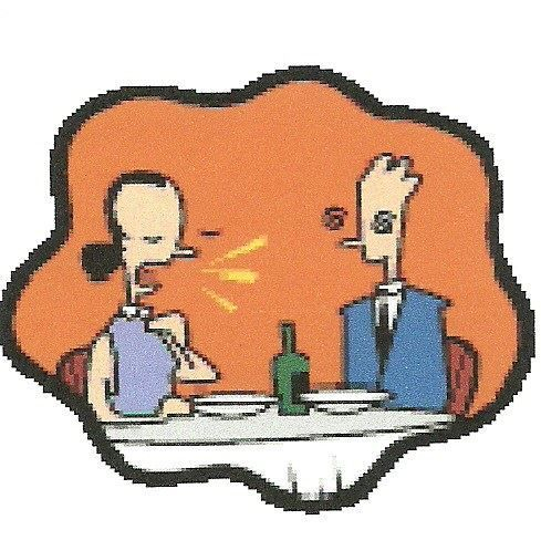 Co-alcoholic and alcoholic at restaurant obviously quibbling over the drinkers use of alcohol.