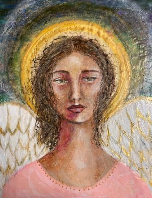 Encaustic angel painting, Angel of Hopemixed media art, encaustic artist, inspirational art, angel artwork, spiritual artwork