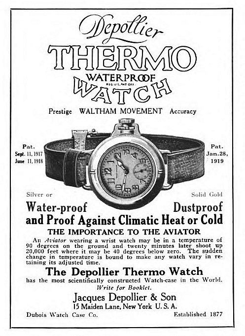 1919 Waltham Depollier THERMO Waterproof Watch, 14k SOLID GOLD.