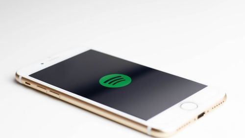 Mobile phone with Spotify logo