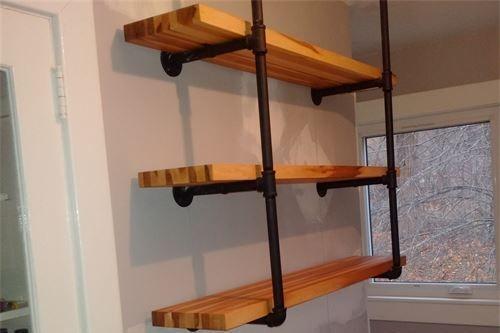 Maple shelving with modern metal framing