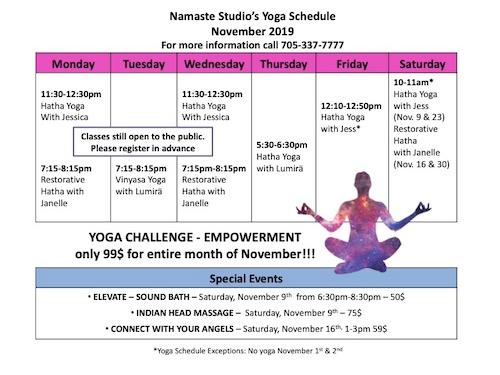 Yoga Schedule for June at Namaste Studio in Kapuskasing