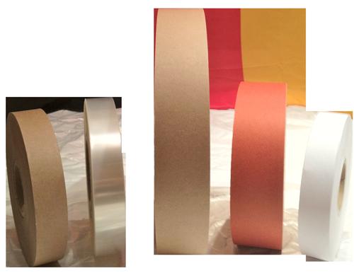 Banderolierpapier, Banderolierfolie, Banderoliermaterial, Papier braun und weiß, Folie transluzent transparent