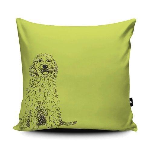Cushion vegan suede cockerpoo dog lover green pen ink sketch
