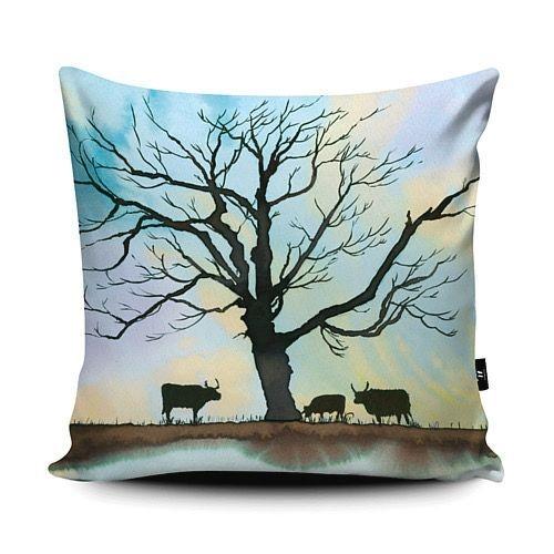 Cushion vegan suede Winter scene of Derbyshire Longhorns grazing the Calke Abbey Estate