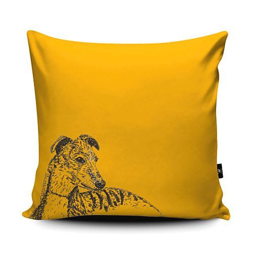 Whippet vegan suede cushion yellow mustard greyhound pen ink sketch
