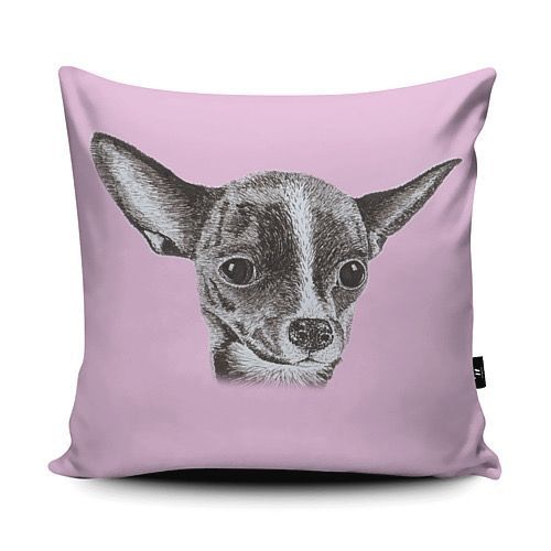 Chihuahua vegan suede cushion pink dog pen ink sketch