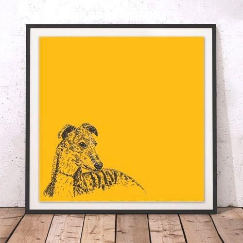 Whippet framed print mustard yellow pen ink sketch