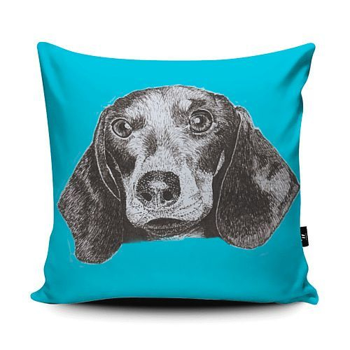 Sausage Dog Dachshund vegan suede cushion pen & ink sketch blue turquoise