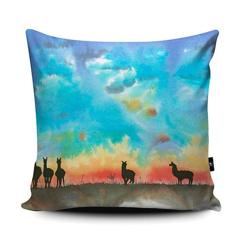 Cushion vegan suede Alpacas Summer scene of an Alpaca herd in silhouette against a stunning sunset