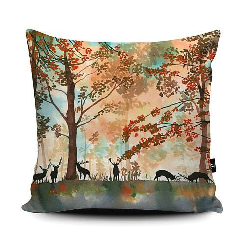 Tatton Park vegan suede cushion Autumnal scene of stags amongst the woodland at the beautiful country park