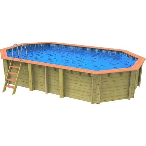 Plastica Bayswater Wooden Swimming Pool - 6.6m x 3.7m Stretched Octagonal