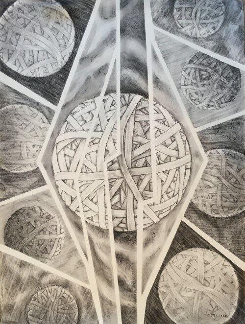 Rubberband Balls, Art, Drawing, Manasse