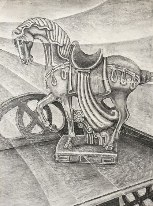 Ceramic Horse Statue, Drawing, Manasse, Art, Modern