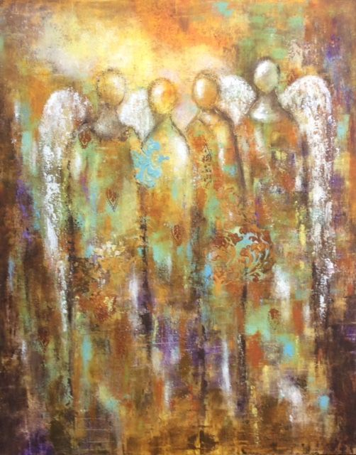 Angel painting, oil and cold wax painting of angels, angels in artwork, abstract angels, mixed media artist, ethereal art, inspirational art