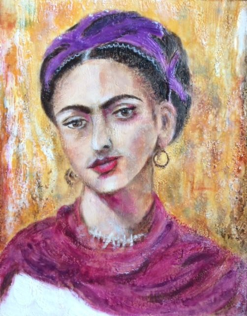 Encaustic portrait, frida kahlo, wax portrait, encaustic artwork, frida kahlo painting, encaustic artist