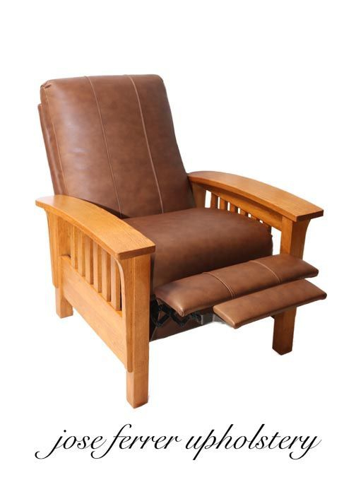 recliner recovered in brown leather
