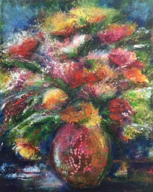 Oil floral painting, botanicals, vase of flowers, abstract floral, oil and cold wax medium