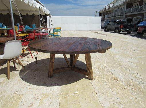 Round wooden cafe table