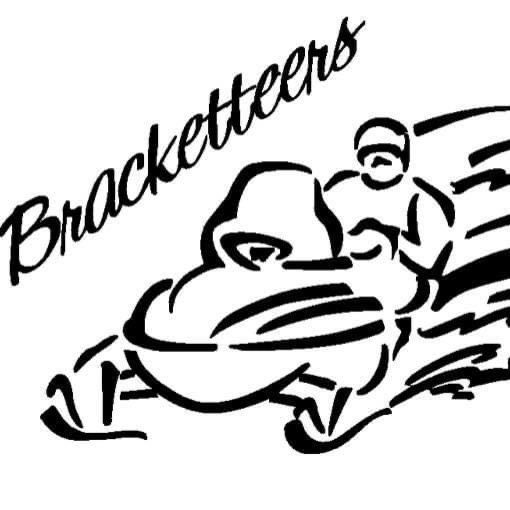 Bracketteers Snowmobile Club Logo Black writing on drawing of snowmobile