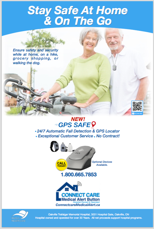 Active senior cyclists wearing the GPS Safe on the go device