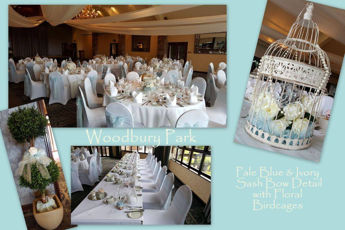 Woodbury Park with Pale Blue Sashes and Floral Birdcages