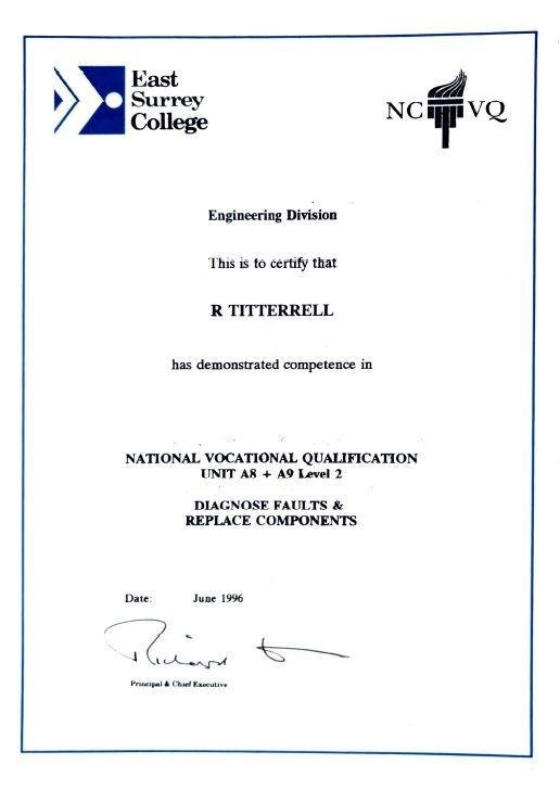 NVQ Level 2, engineering
