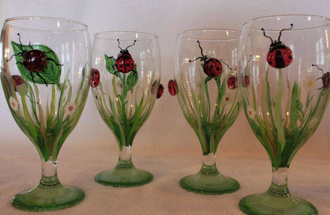 lady bug wine glass, lady bug water glass, lady bug goblet