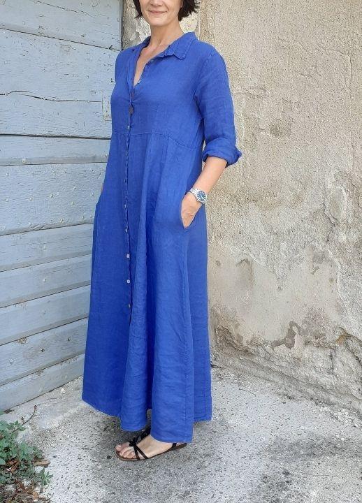 robe longue en lin manches longues