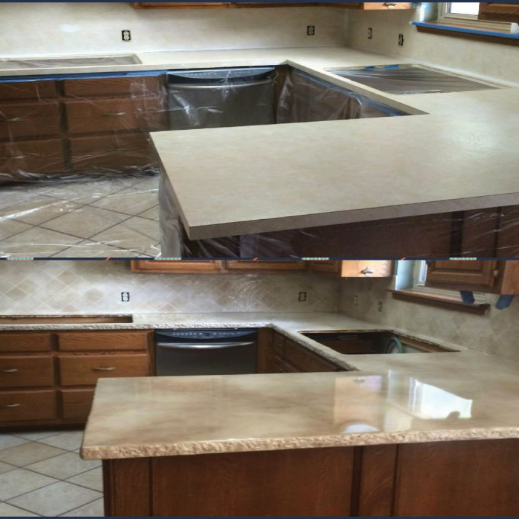CounterFIT LLC Epoxy resin countertop before and after