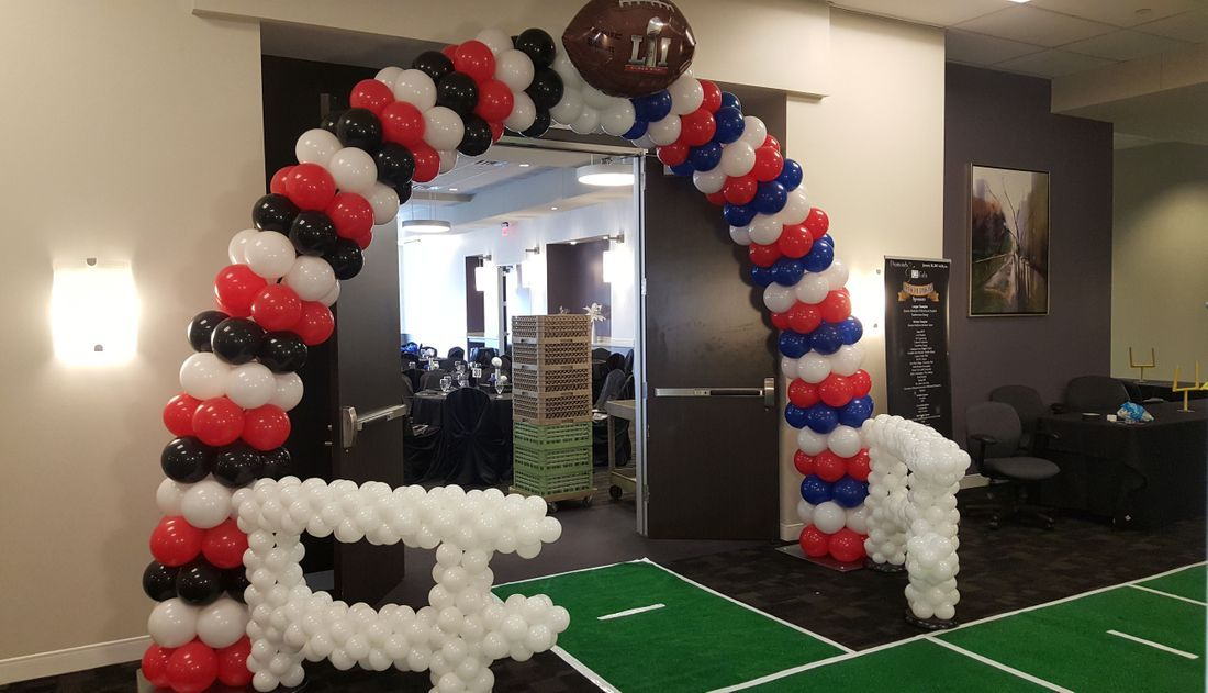 Balloon Arch, Super Bowl, Balloons, Helmet, Gala, Infante Creations, Houston, TX, Balloon Decorations