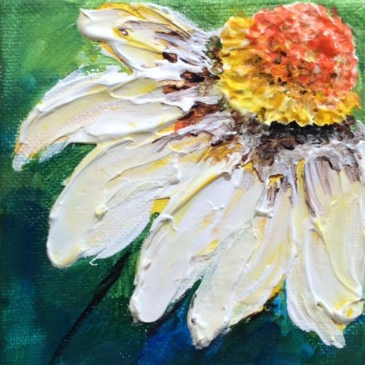 Coneflower. Acrylic Mixed Media on Canvas.  Barbara Polc artist. Art And Soul By The Lake.  Abstract Floral Painting.  Home Decor. Contemporary Art. Modern Art.