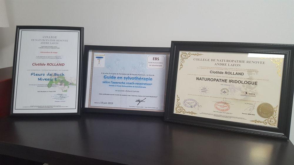 Certificats naturopathie iridologie fleurs de bach Clotilde Rolland Nantes