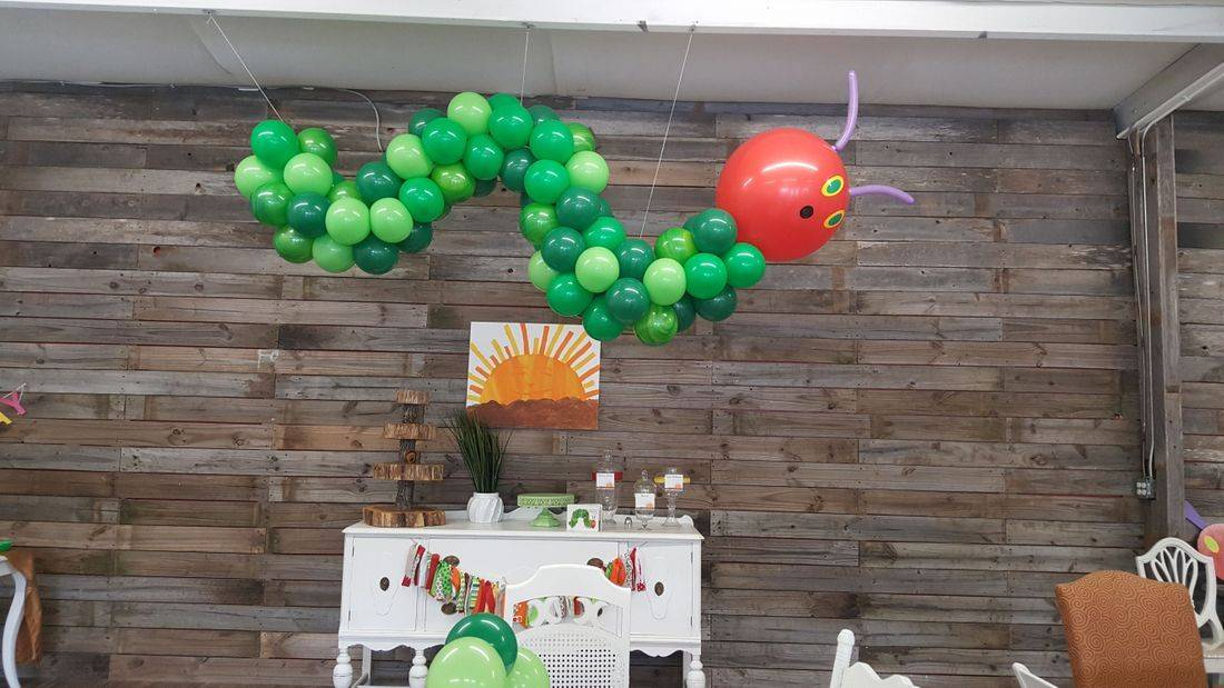 Hungry Caterpillar, Balloon Columns, Balloons, Balloon Decorations, Infante Creations, Houston, TX